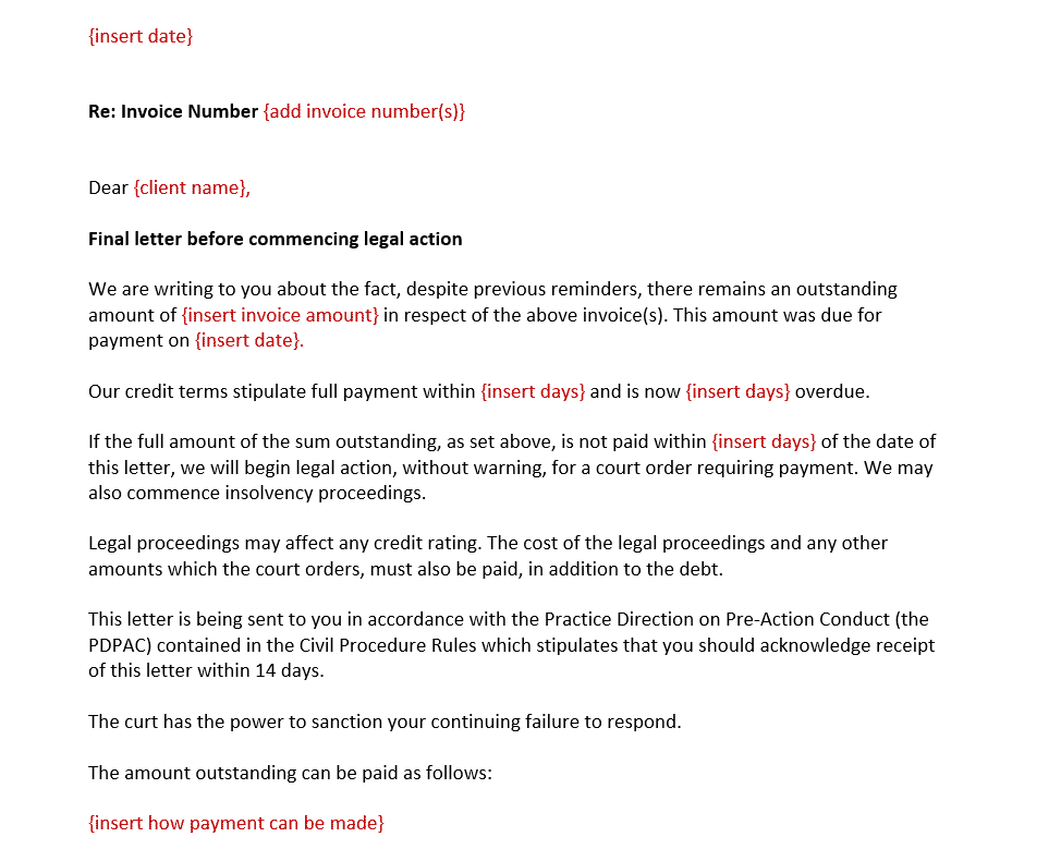 Free letter before action template